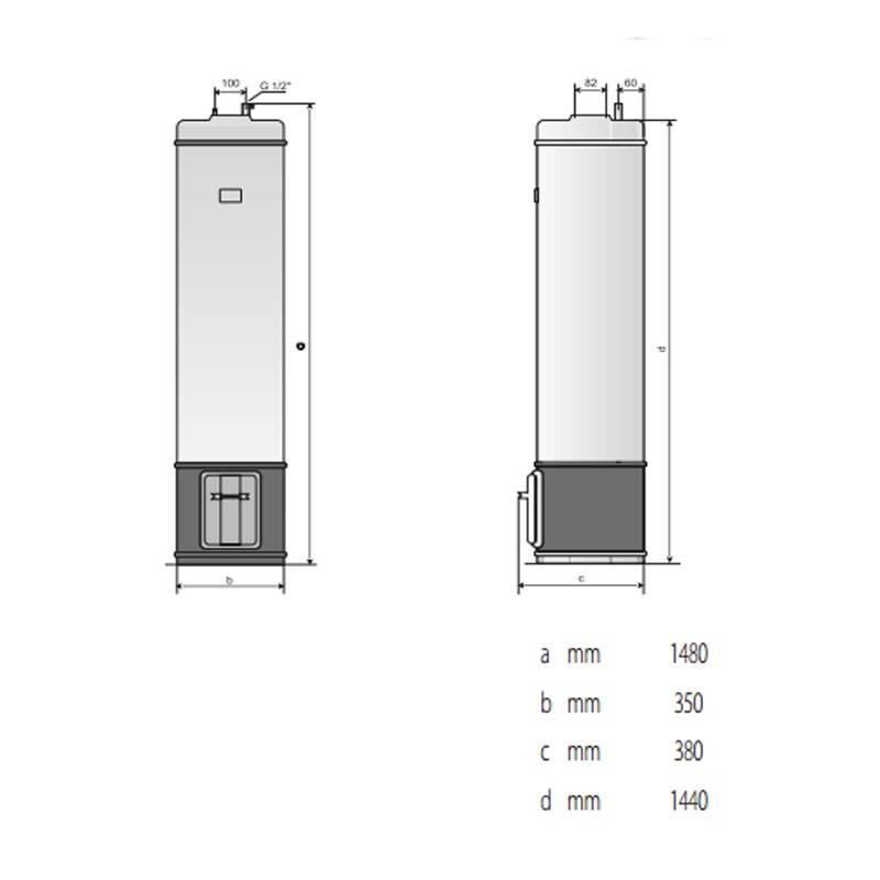 Poza Dimensiuni Boiler pe lemne Ariston SLE/3 80 litri